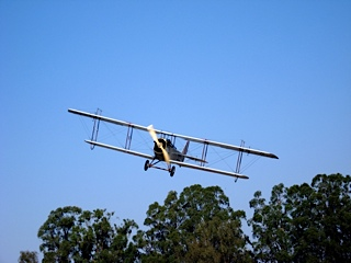 Jeane Slone flying in the Curtiss Jenny